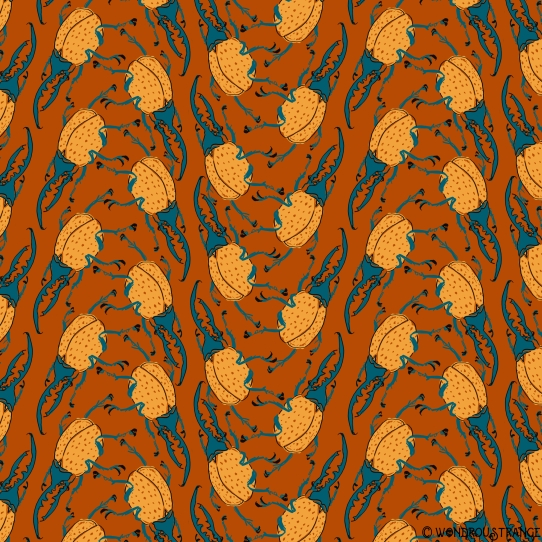 Beetle pattern1 burnt orange
